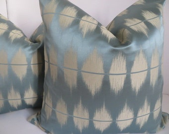 Blue Gray Pillow Cover,18x18 Pillow, Jacquard fabric, Home Accent, Pillow Covers, Decorative Pillow Covers
