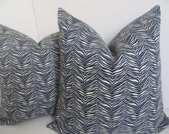Outdoor/Indoor Pillow covers,Dark Navy Blue Pillow Cover, Blue And Ivory Outdoor pillow