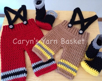 CROCHET PATTERN Baby Fireman Pants, Suspenders & Boots, Newborn, 0-3 Month Sizes