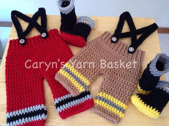 CROCHET PATTERN Baby Fireman Pants Suspenders & Boots