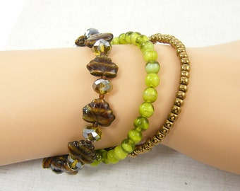 Olive Green Bracelet, Brown Bead Bracelet, Green Bracelet Stack, Earthy Bangle Stackable Set, Memory Wire Bracelets