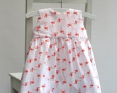 Baby girl cotton dress size 6-9 months 68 centilong white orange flamingos