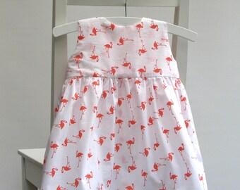 SALE - Baby girl cotton dress size 6-9 months 68 centilong white orange flamingos