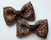 leopard print hair bows--2.5 inch tuxedo style hair accesories--perfect accessories for baby toddler big girls and adults, too