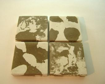 Concrete Coasters Home Decor Drink Coasters Reversible Cow Hide Print  / Marbled Print Animal Print Coasters Modern Concrete