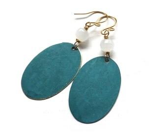 Teal Patina Earrings - Beaded Handmade Jewelry