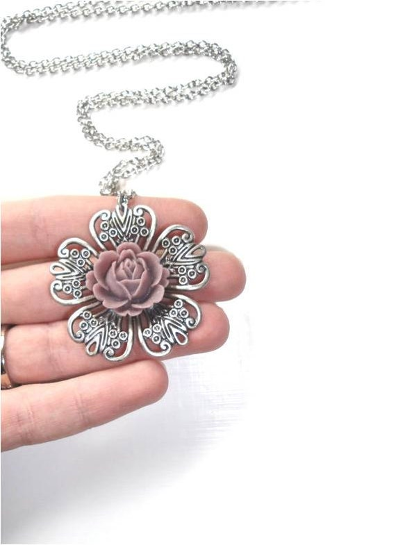 Purple Flower Pendant Necklace on Long Silver Chain - Radiant Orchid