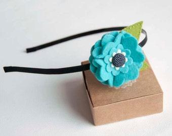 Headband with turquoise felt flower
