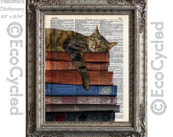 Cat and Books 2 on Vintage Upcycled Dictionary Art Print Book Art Print Recycled Reading Read Literacy bookworm gift