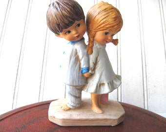 Retro Moppets figurine siblings boy and girl Fran Mar