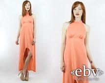 High Low Dress Tuxedo Dress Mullet Dress Fishtail Dress Summer Dress Vintage 70s Salmon Hippie Dress Hippy Dress Pink Dress Maxi Dress XS S