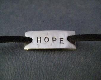 HOPE Wrap Bracelet  - Inspirational Jewelry - Motivational Jewelry - Nickel Silver Pendant on 3 feet of Micro Fiber Suede - Shoe Lace Wrap