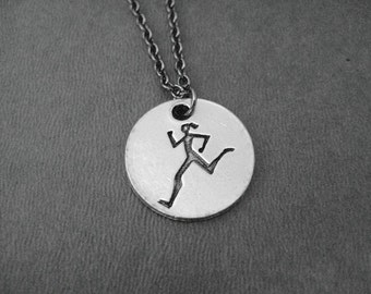 RUNNER GIRL Round Pendant Necklace - Pewter Charm on Gunmetal chain - The Run Home's Running Girl Charm available only at The Run Home - Run
