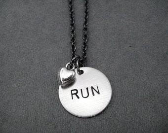 RUN LOVE Necklace - Running Necklace on Gunmetal chain - Running Jewelry - Run Necklace - Runner - Love to Run Necklace - Run - Runner