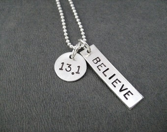 13.1 BELIEVE Sterling Silver Necklace - 16, 18 or 20 inch Sterling Silver Ball Chain - Believe in the Half Marathon - First Half Marathon