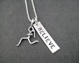 Run BELIEVE with RUN Charm Sterling Silver - Choose RUN Charm - 16, 18 or 20 inch Sterling Silver Ball Chain - Believe in Your Run Jewelry