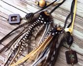 Stunning black cream gold and white chevron braided leather and feather headband belt lariat