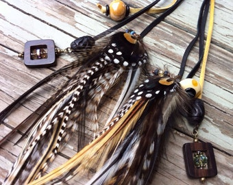 Stunning black cream gold and white chevron braided leather and feather headband belt lariat