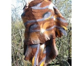 WrapShawl,Cape,Women Gift, NunoFelt Wool Shawl,Merino Wool Felt Scarf, Broun-Beige Wrap Shawl,Handmade, OOAK
