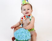 cake smash outfit boy rainbow argyle with lime diaper cover bow tie birthday hat and suspenders set
