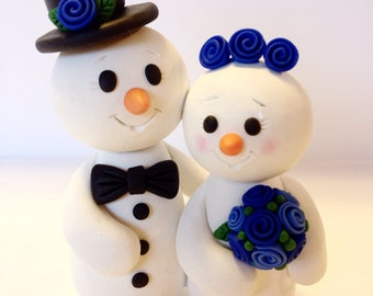 Snowman Wedding Cake Topper - Choose Your Colors