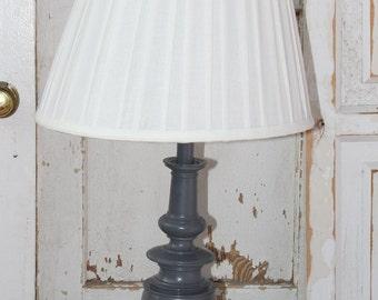 Brass Lamp Painted Dark Gray with White Shade By Foo Foo La La