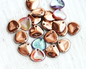Rose Petals, czech glass beads - Copper Rainbow - 8x7mm,  small petal beads, spacers, top drilled- 20Pc - 1443