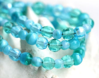 Sea Blue beads mix, Czech glass, aqua water blue, teal - round spacers, druk, small - 4-3mm - approx.100Pc - 0734