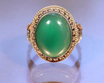 French Victorian Sterling Green Calcedony Ring Floral Band Stamped Size 8.75 US