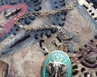 Bohemian Turquoise Miniature Elephant Locket