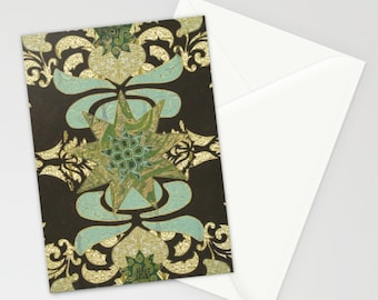 """Nine-Pointed Star with Lotus, Two Notecards 5""""x7"""""""