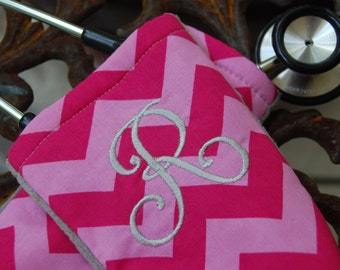 Stethoscope Cover,  10% off with coupon code- Monogrammed- Doctor, Nurse, RN, Medical - Pink Chevron with Gray Minky