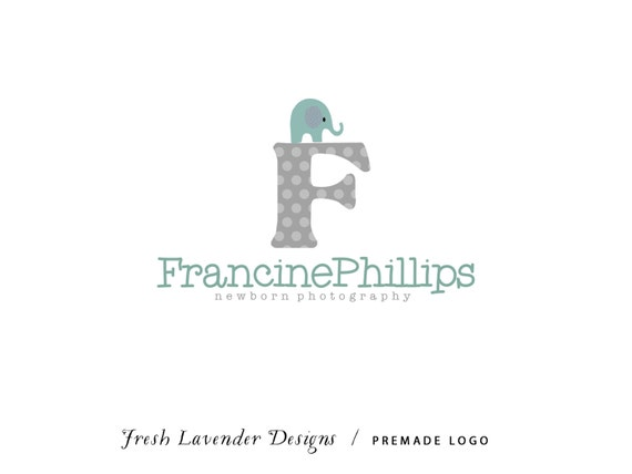 Custom Logo Design Premade Logo Design for Photographers and Small Businesses Polka Dot Monogram with Elephant Whimsical
