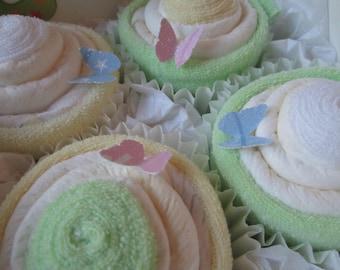 Neutral Diaper Washcloth Cupcake Gift Set