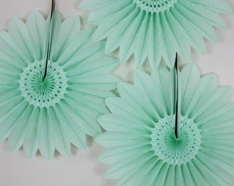 Baby Shower Decor- party supplies, birthday decorations, parties, photo backdrop- SET of 3 Mint Green Fans