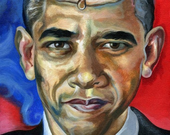 Canvas Print / A Painting Of President Obama With A Pancake On His Head