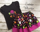 Halloween Candy Applique Shirt and Twirl Skirt Set Sizes 18 2 3 4 5 6 8