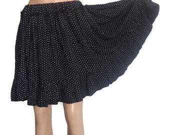 BLACK Dotted  Skirt Upcycled clothing Country Womens Skirt Recycled Upcycled Wedding Skirt