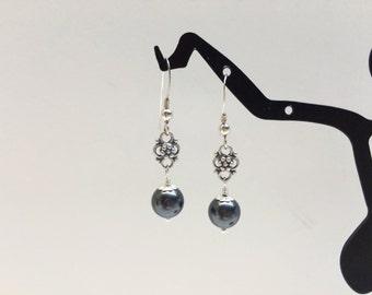 Black Pearl Dangle Earrings  - FREE SHIPPING
