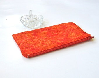 Fabric Cosmetic Bag in Orange Leaf Print SALE Zippered  Makeup Bag Zippered Pouch