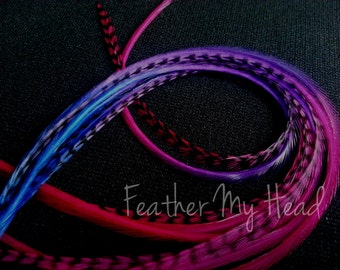 10 Tie Dye Fade Feather Extensions Whiting Grizzly Rooster Feathers X- Long 9-12 inches Multi Colored Summer Berry