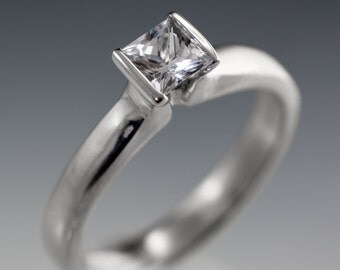 Princess Cut White Sapphire Modified Tension Solitaire Engagement Ring, Palladium, Rose, Yellow Gold, White Gold, Platinum