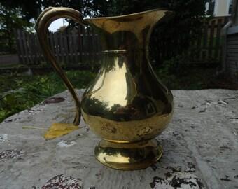 Vintage gold brass water pitcher