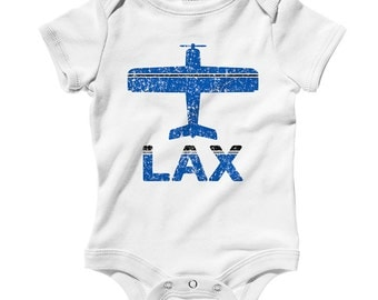 Baby Fly Los Angeles One Piece - LAX Airport Infant Romper - Nb 6m 12m 18m 24m - 3 Colors