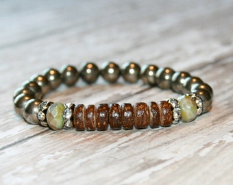 Pyrite Bracelet, Rustic bracelet, Rustic gemstone bracelet, Stacking bracelet
