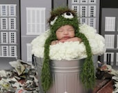 Crochet Hat Inspired By Oscar the Grouch Version 2 - Custom Made Any Size