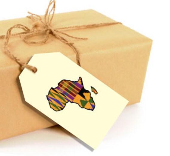 Printable Kente Africa Gift Tags - 12 total per sheet - DIY Digital Download PDF File - 8.5x11