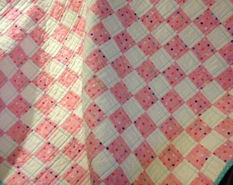 "A 35"" X 35"" Postage Stamp Quilt In Pink, Polka Dots and White"