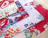 FOUR Vintage Tablecloths All Unique Designs, Flowers, Berries, Display or Crafts
