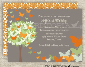BUTTERFLY BIRTHDAY PARTY Invitations Orange Butterfly Fairy Tale Butterfly Digital diy Printable Personalized - 175703476 August Finds